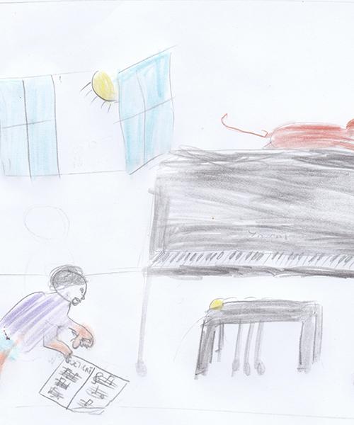 Petite pièce Op6 N°2 de A. Goedicke - Dessin de Louis Pannecière